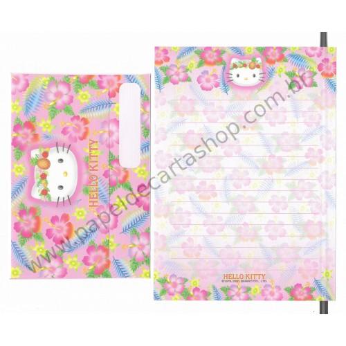 Ano 2001. Conjunto de Papel de Carta Hello Kitty Hibisco RS Sanrio