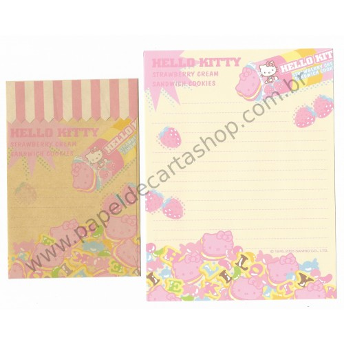 Ano 2003. Conjunto de Papel de Carta Hello Kitty Strawberry Cookie Sanrio