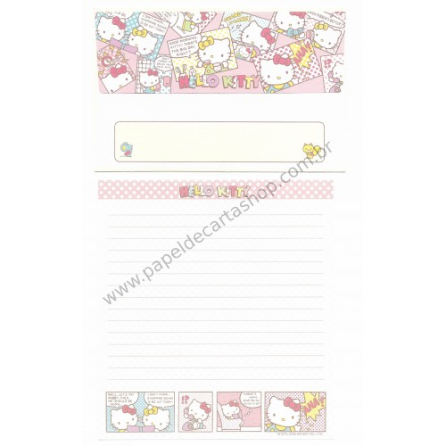 Ano 2003. Conjunto de Papel de Carta Hello Kitty Quadrinhos Sanrio