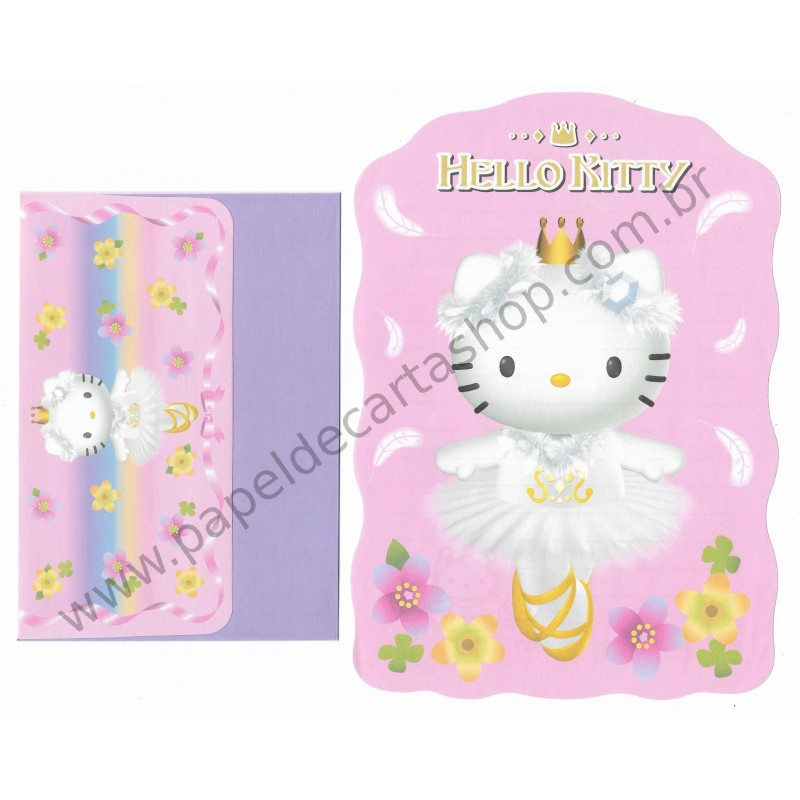 Ano 2002. Conjunto de Papel de Carta Hello Kitty Bailarina Sanrio