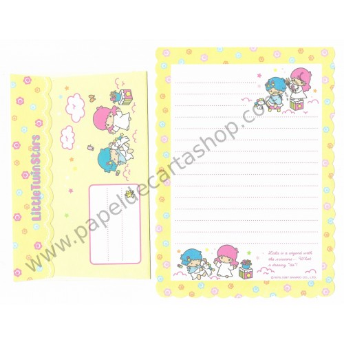 Ano 1997. Conjunto de Papel de Carta Little Twin Stars AM Antigo (Vintage) Sanrio