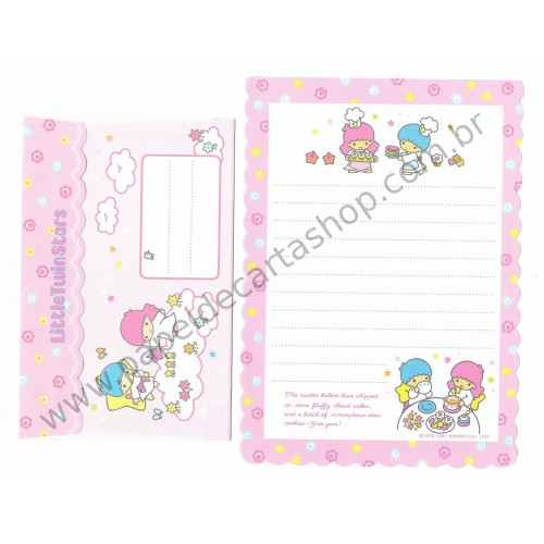 Ano 1997. Conjunto de Papel de Carta Little Twin Stars RS Antigo (Vintage) Sanrio
