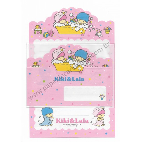 Ano 1997. Conjunto de Papel de Carta Little Twin Stars RT2 Antigo (Vintage) Sanrio