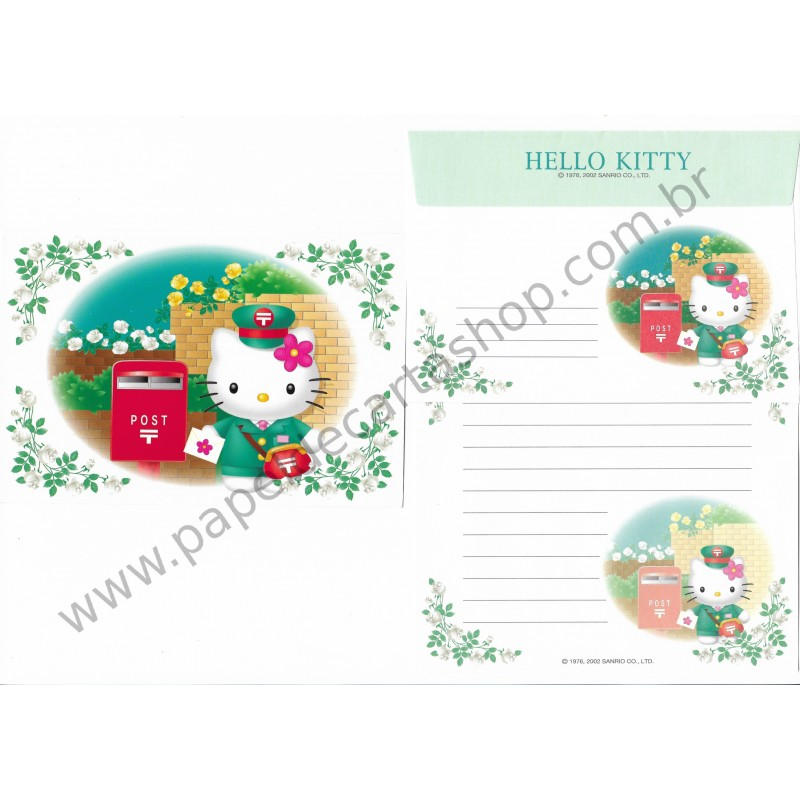 Ano 2002. Conjunto de Papel de Carta Hello Kitty Regional Post VD Sanrio