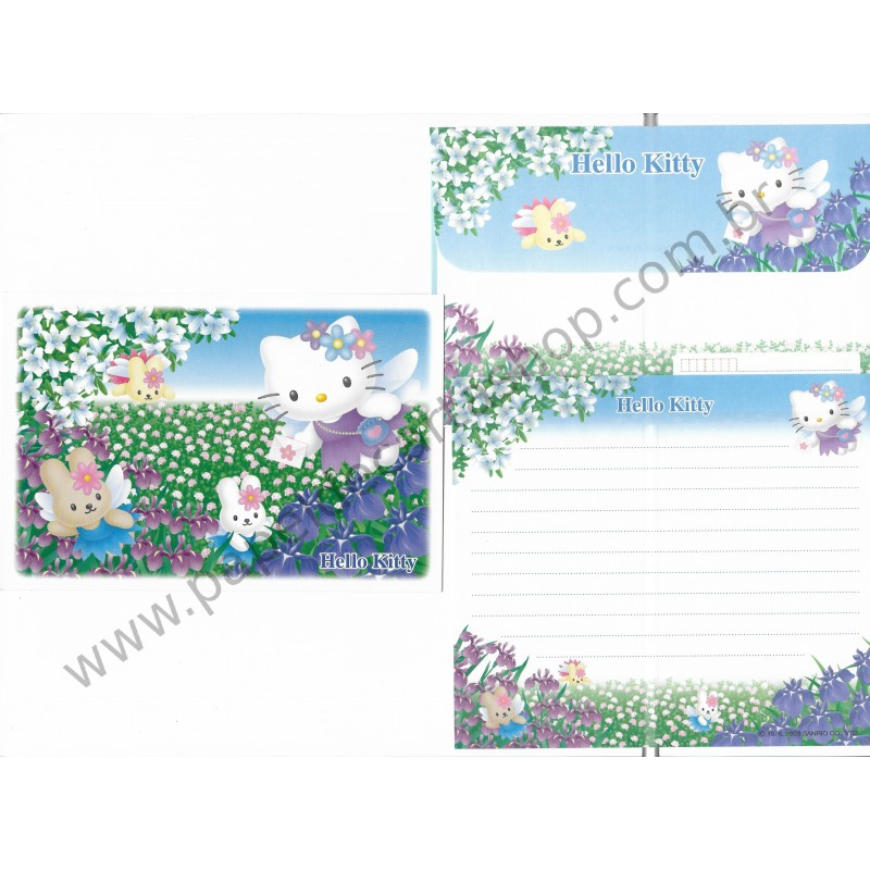 Ano 2003. Conjunto de Papel de Carta Hello Kitty Post Angel2 Sanrio