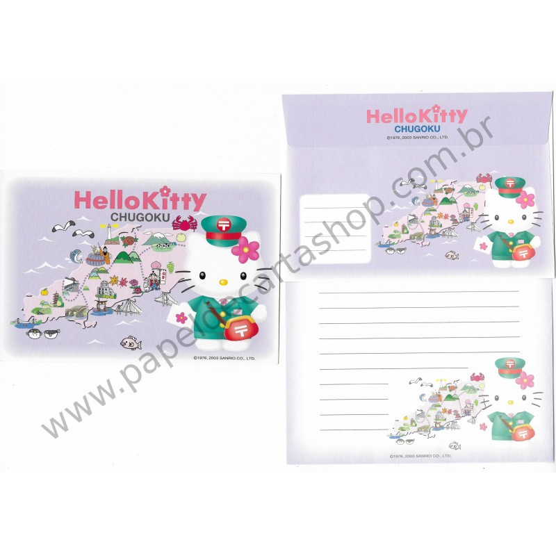 Ano 2003. Conjunto de Papel de Carta Hello Kitty Regional Chugoku Sanrio