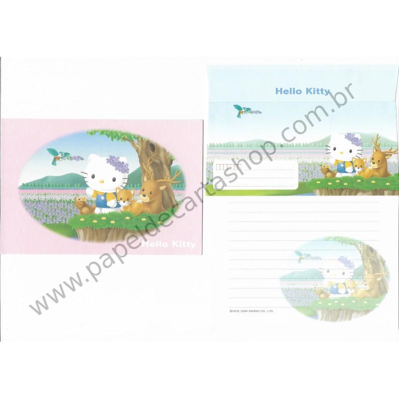 Ano 2004. Conjunto de Papel de Carta Hello Kitty Regional CRS Sanrio