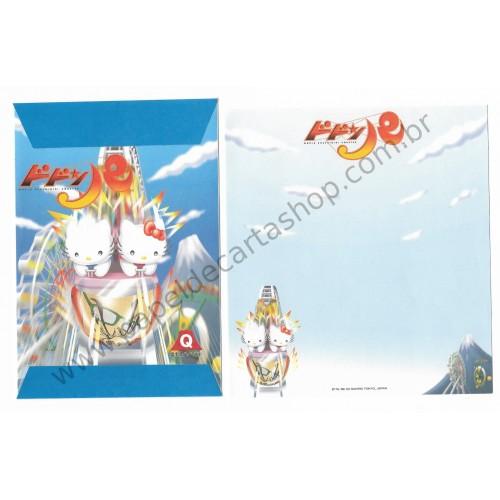 Ano 2002. Conjunto de Papel de Carta Hello Kitty Bucchigiri Coaster Sanrio