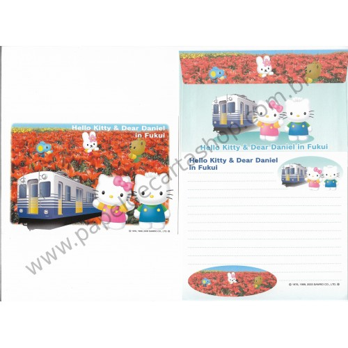 Ano 2003. Conjunto de Papel de Carta Hello Kitty & Dear Daniel in Fukui Sanrio