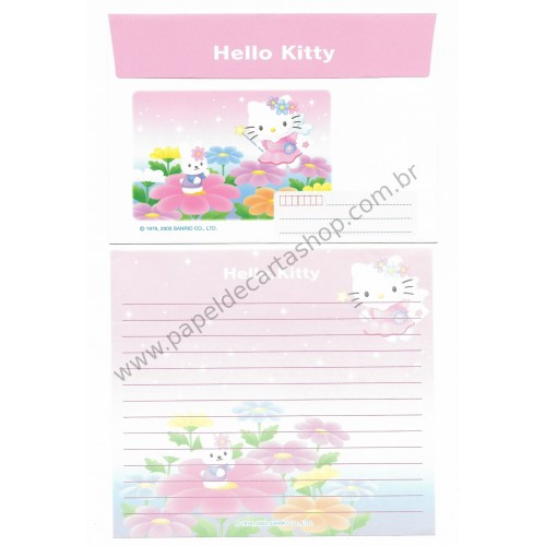 Ano 2003. Conjunto de Papel de Carta Hello Kitty Post Angel RS Sanrio