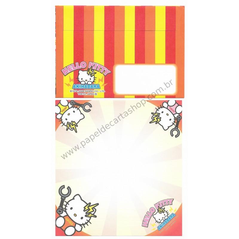 Ano 2008. Conjunto de Papel de Carta Hello Kitty Regional Akiba Sanrio