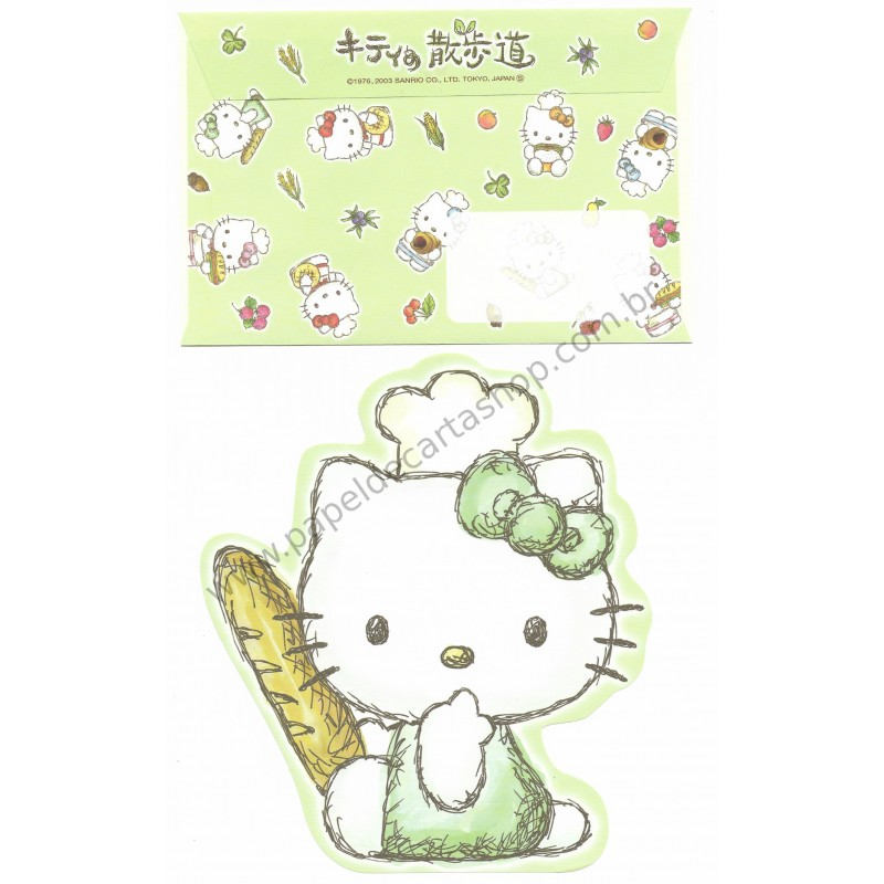Ano 2003. Conjunto de Papel de Carta Hello Kitty Baking VD Sanrio