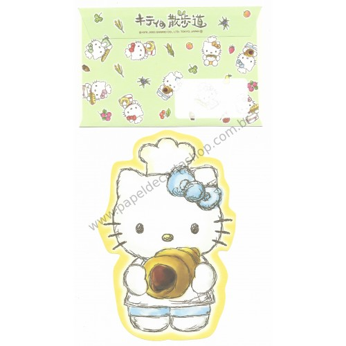 Ano 2003. Conjunto de Papel de Carta Hello Kitty Regional Japão - Baking AM Sanrio