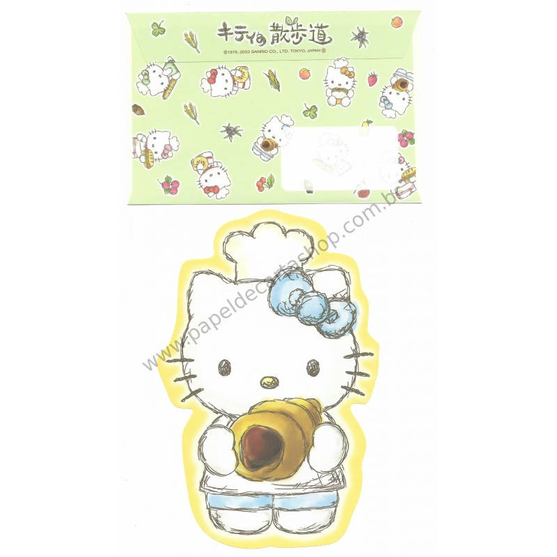 Ano 2003. Conjunto de Papel de Carta Hello Kitty Baking AM Sanrio