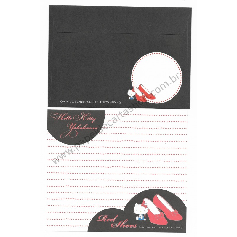 Ano 2008. Kit 4 Conjuntos de Papel de Carta Hello Kitty Regional Japão Yokohama Sanrio