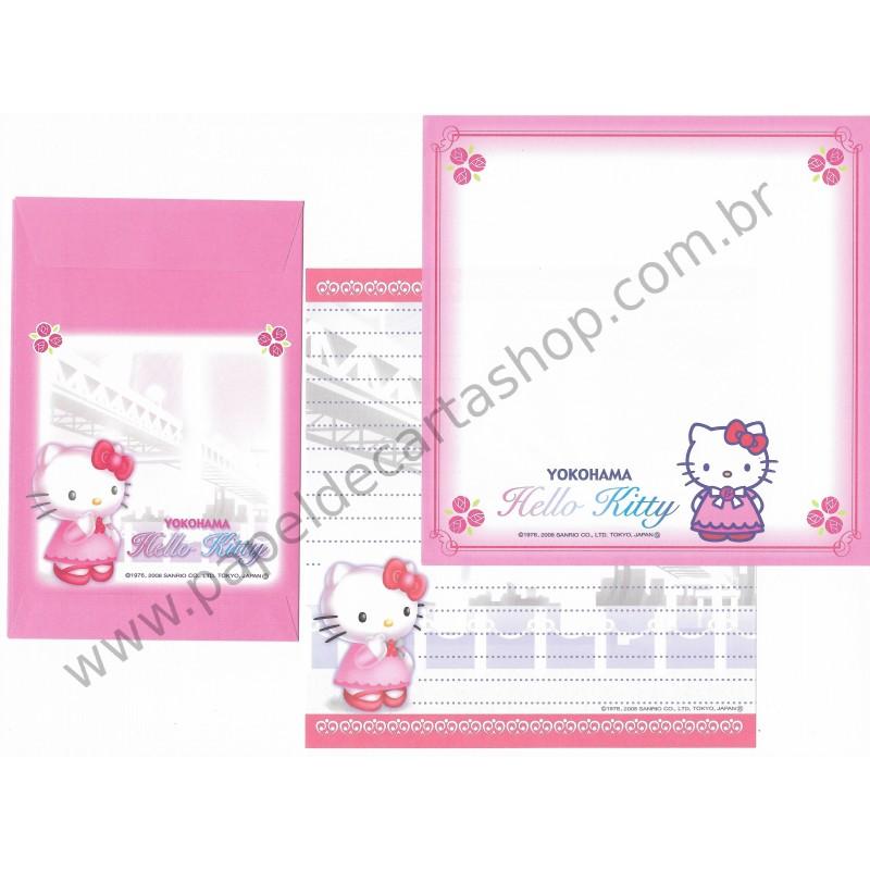 Ano 2008. Conjunto de Papel de Carta Hello Kitty Regional Japão Yokohama3 Sanrio