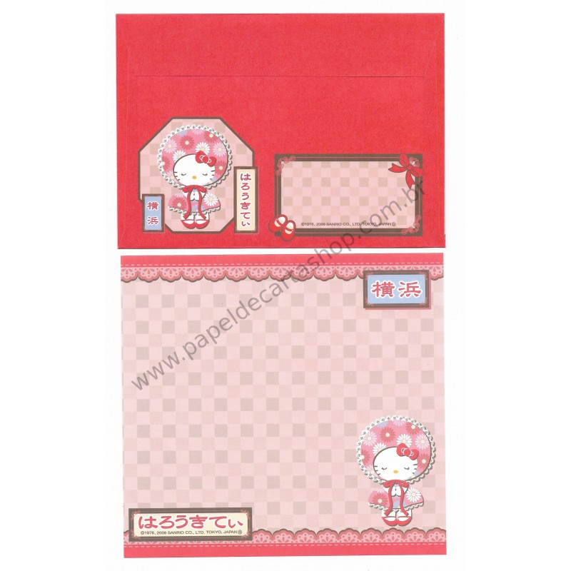 Ano 2008. Conjunto de Papel de Carta Hello Kitty Regional Japão Yokohama2 Sanrio