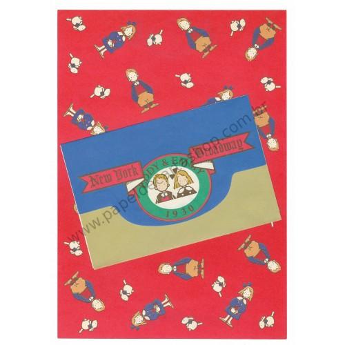 Ano 1984. Conjunto de Papel de Carta Vaudeville Duo Eddy & Emmy 1930 Antigo (Vintage) Sanrio
