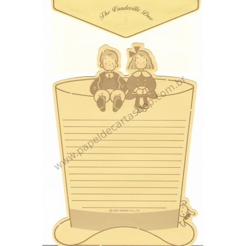 Ano 1983. Conjunto de Papel de Carta Vaudeville Duo Vintage Sanrio