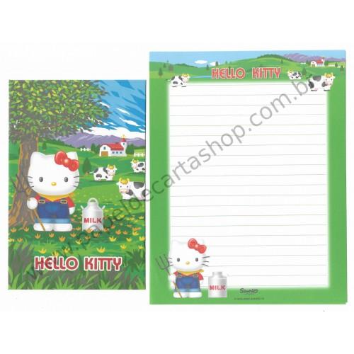 Ano 2000. Conjunto de Papel de Carta Gotōchi Kitty Regional 25 Sanrio