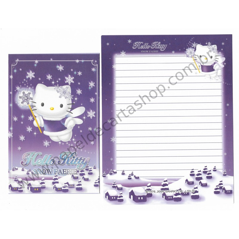 Ano 2000. Conjunto de Papel de Carta Hello Kitty Snow Faerie Sanrio