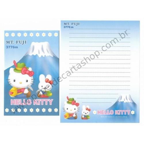 Ano 2001. Conjunto de Papel de Carta GOTŌCHI Kitty - MT. FUGI 3776M - Sanrio
