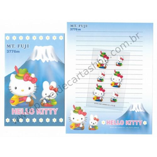 Ano 2001. Conjunto de Papel de Carta GOTŌCHI Kitty - MT. FUGI 3776M Ade - Sanrio