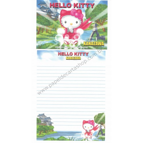 Ano 2001. Conjunto de Papel de Carta Gotōchi Kitty Regional Japão - Kanazawa - Sanrio
