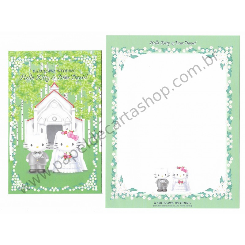 Ano 2001. Conjunto de Papel de Carta Gotōchi Kitty Karuizawa Wedding Sanrio