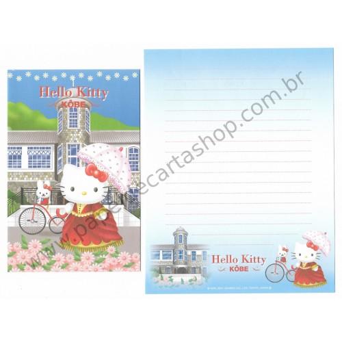 Ano 2001. Conjunto de Papel de Carta GOTŌCHI Kitty Regional Japão - Kōbe - Sanrio