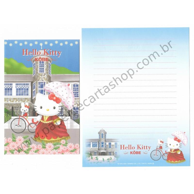 Ano 2001. Conjunto de Papel de Carta GOTŌCHI Kitty Kōbe Sanrio