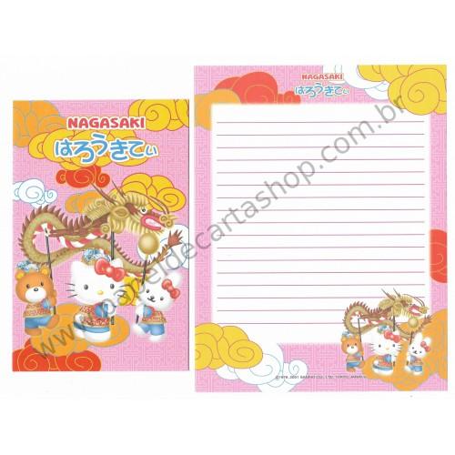 Ano 2001. Conjunto de Papel de Carta Gotōchi Kitty Regional Japão - Nagasaki - Sanrio