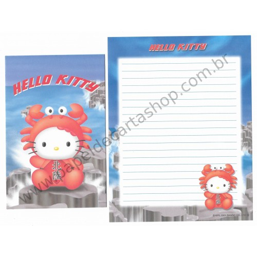 Ano 2001. Conjunto de Papel de Carta Gotōchi Kitty Regional 15 Sanrio