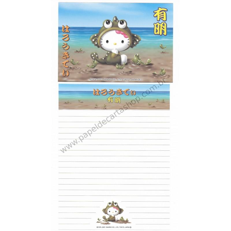 Ano 2001. Conjunto de Papel de Carta Gotōchi Kitty Regional Japão 17 - Sanrio