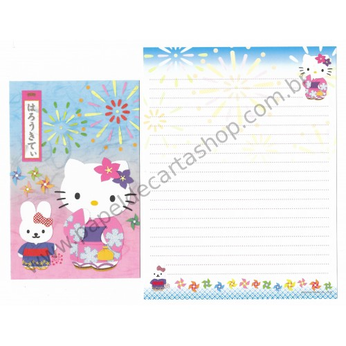Ano 2001. Conjunto de Papel de Carta Gotōchi Kitty Regional 20 Sanrio