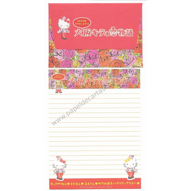 Ano 2001. Conjunto de Papel de Carta Gotōchi Kitty Regional 21 Sanrio