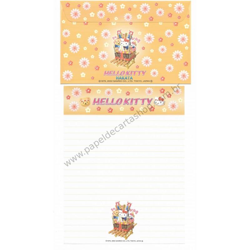 Ano 2002. Conjunto de Papel de Carta Gotōchi Kitty Hakata Sanrio