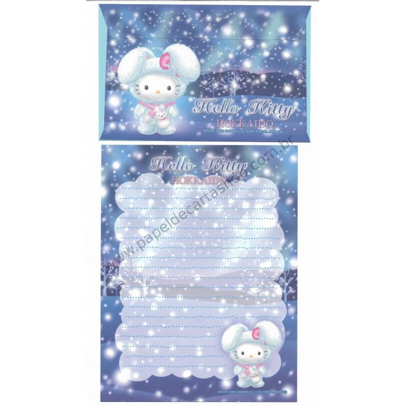 Ano 2002. Conjunto de Papel de Carta Gotōchi Kitty Hokkaido 03 Sanrio