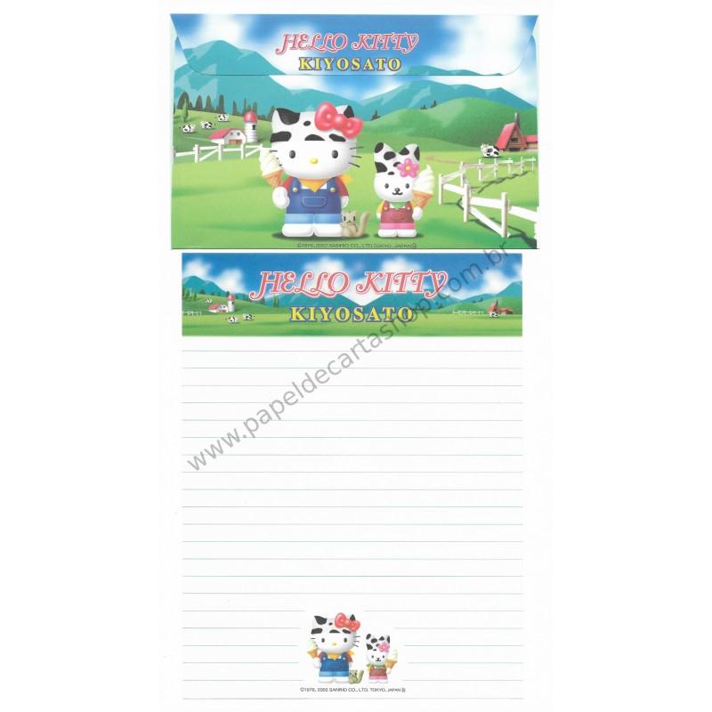 Ano 2002. Conjunto de Papel de Carta Gotōchi Kitty Kiyosato Sanrio