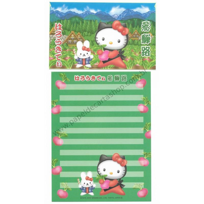 Ano 2002. Conjunto de Papel de Carta Gotōchi Kitty Regional Japão - Sanrio