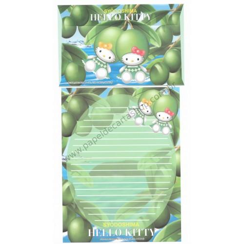 Ano 2002. Conjunto de Papel de Carta Gotōchi Kitty Regional Japão - Syōdoshima - Sanrio