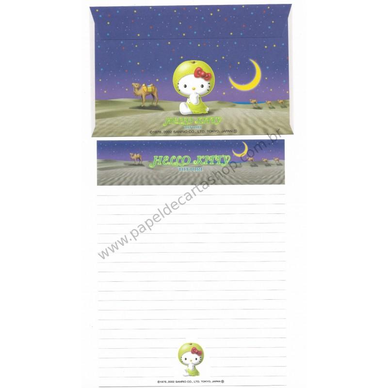 Ano 2002. Conjunto de Papel de Carta Gotōchi Kitty Tottori Sanrio