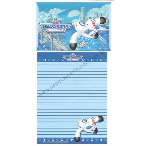 Ano 2002. Conjunto de Papel de Carta Gotōchi Kitty Yokohama Sanrio