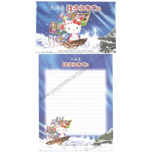 Ano 2002. Conjunto de Papel de Carta Gotōchi Kitty Regional Japão 09 - Sanrio