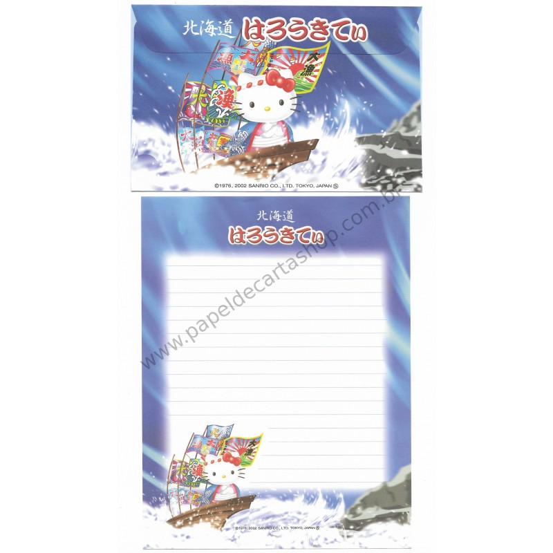 Ano 2002. Conjunto de Papel de Carta Gotōchi Kitty Regional 09 Sanrio