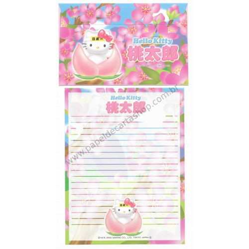 Ano 2002. Conjunto de Papel de Carta Gotōchi Kitty Regional Japão 28 - Sanrio