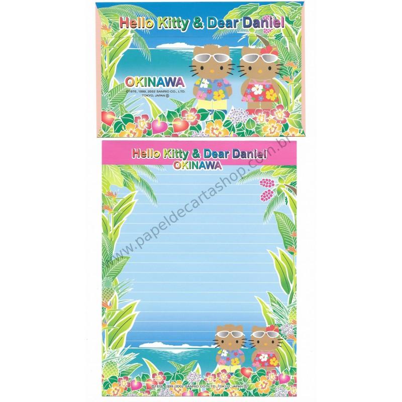 Ano 2002. Conjunto de Papel de Carta Gotōchi Kitty Okinawa Sanrio