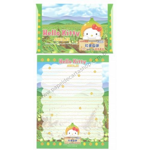 Ano 2003. Conjunto de Papel de Carta Gotōchi Kitty Awaji Sanrio