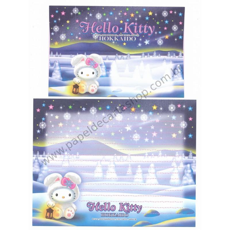 Ano 2003. Conjunto de Papel de Carta Gotōchi Kitty Hokkaido Sanrio