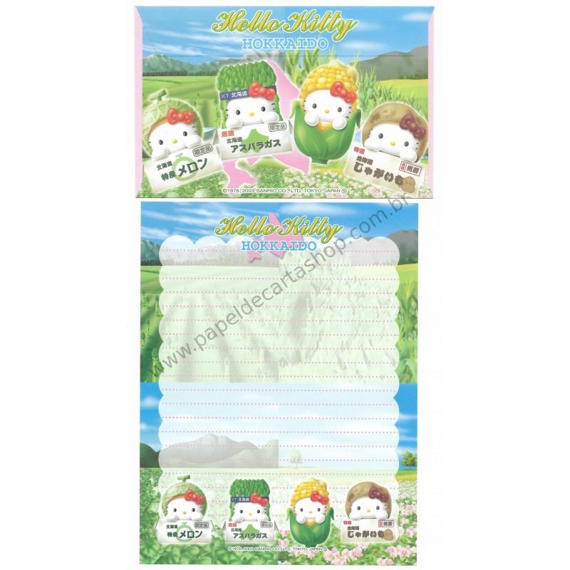 Ano 2003. Conjunto de Papel de Carta Gotōchi Kitty Hokkaido 2 Sanrio